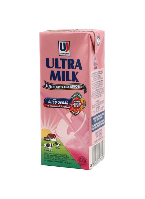 Ultra Milk Slim Plain 200ml ultra uht steril slim strawberry tpk 200ml
