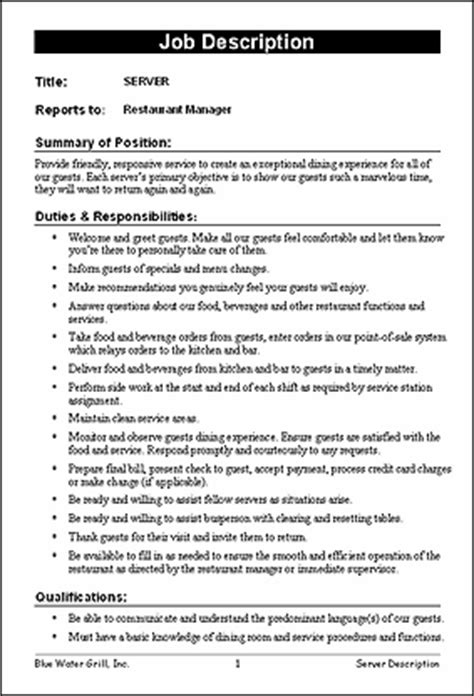 layout for job description restaurant job description templates f b pinterest