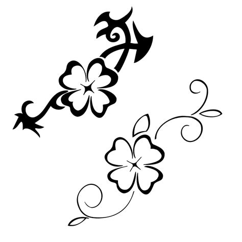 black white four leaf clover design for tattoo clipart