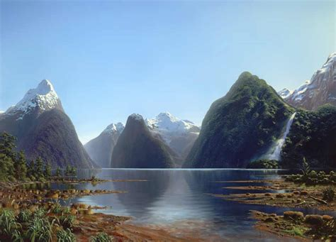 Landscape Artists New Zealand Milford Sound And Bowen Falls 69 X 96 On Canvas By