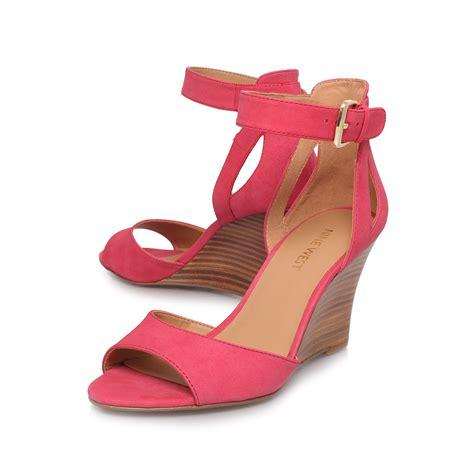 nine west floyd mid heel wedge sandals in pink lyst