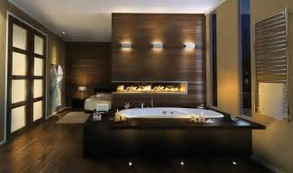 Master Bedroom Bathroom Designs Luxury Master Bathroom Idea By Pearl Drop In Bathtub And Built In Fireplace
