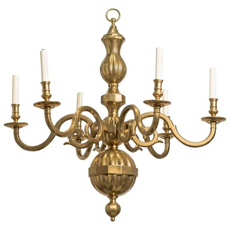 Lighting Chandeliers Traditional Traditional Solid Brass Six Arm Chandelier At 1stdibs