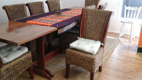 Handmade Wood Furniture For Sale - 10ft handmade solid wood dining table and 8 balinese