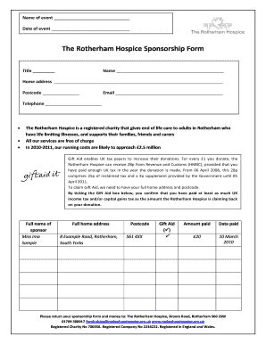 Rotherham Hospice Sponsor Form Fill Online Printable Fillable Blank Pdffiller Hospice Contract Templates