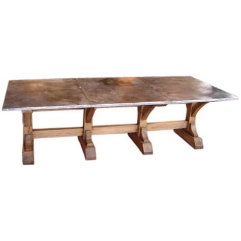 Zinc Top Dining Table Zinc Top Oak Trestle Dining Table At 1stdibs