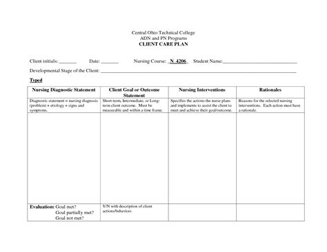nursing care plan template free best photos of care plan template nursing care plan