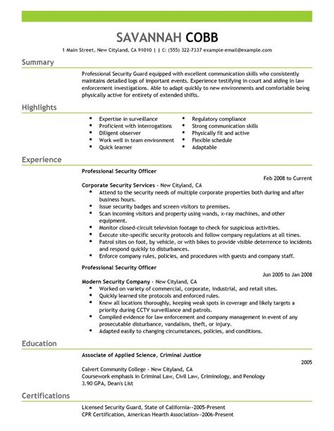 professional security officer resume examples free to try today
