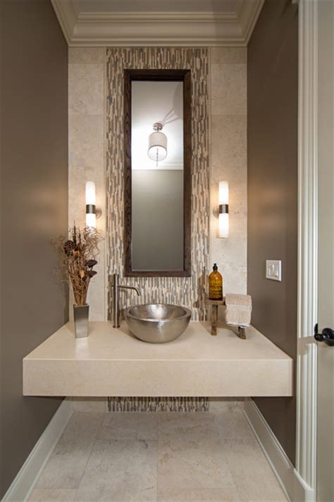 Modern contemporary powder room with travertine tile contemporary