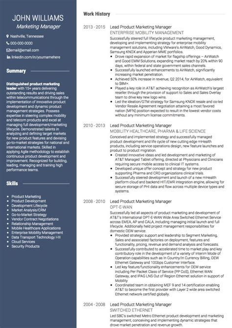 cv template for marketing marketing cv exles and template