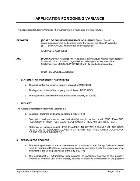 Request Letter For Zoning Certificate Application For Zoning Variance Template Sle Form Biztree