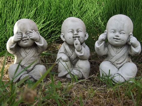 Fairy Home Decor buddha monk set speak see hear no evil garden ornament
