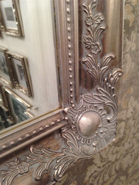 large antique silver shabby chic ornate decorative wall mirror save