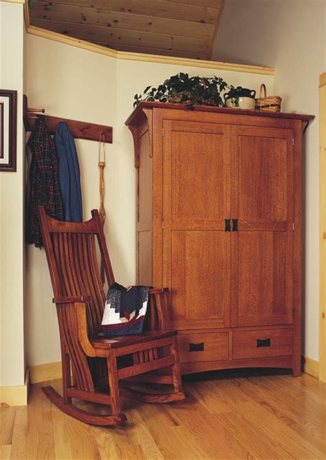 Mission Style Oak Foyer Furniture Craftsman Armoires Craftsman Armoires And Wardrobes Houzz