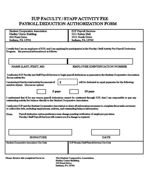 employer tax deduction form payroll deduction authorization form indiana free download