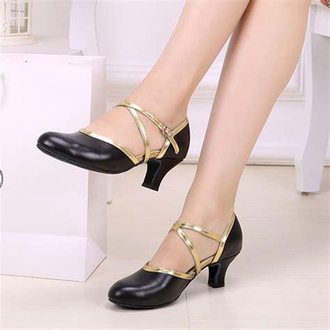 Sandal High Heels Wanita Brukat Sebagian sepatu dansa untuk wanita professional womens ballroom shoes med thin heel