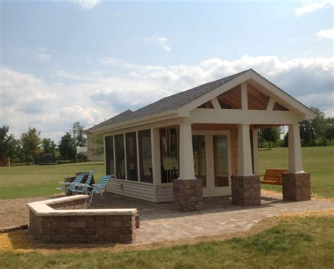 Detached Garage Plans With Porch by Fort Wayne Detached Porch And Belgard Paver Patio
