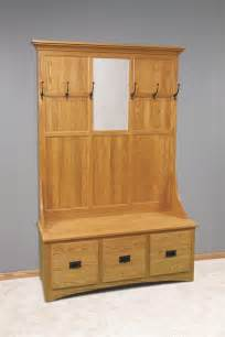 Entry Tree Furniture Amish Mission Tree With Storage Bench 3 Drawer