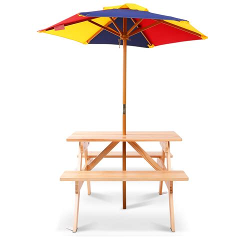 wooden picnic table with umbrella buy wooden picnic table set with umbrella at