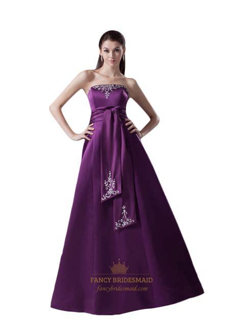 Purple Strapless Dress purple strapless lace embroidered satin prom dress