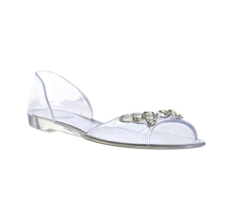 clear flats shoes stuart weitzman clear jelly rhinestone detail dorsay peep