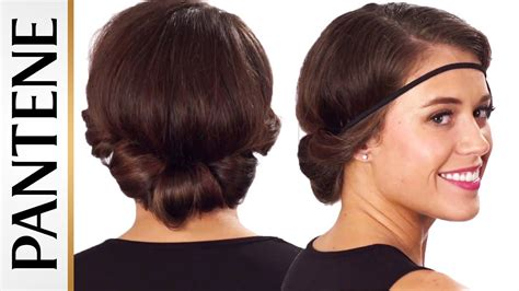 headband hairstyles medium hair headband roll and tuck updo easy hairstyles for short