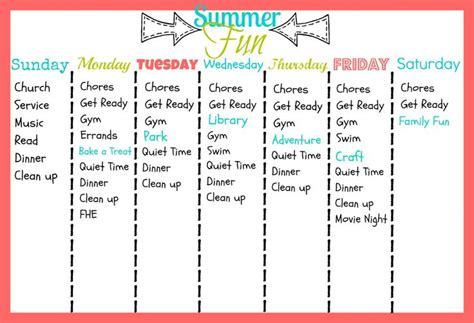 daily summer schedule printable summer fun printable crazy thing called quot parenthood
