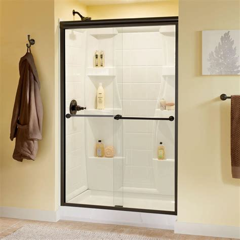 Delta Shower Door Delta Crestfield 48 In X 70 In Semi Frameless Sliding Shower Door In White With Chrome Handle