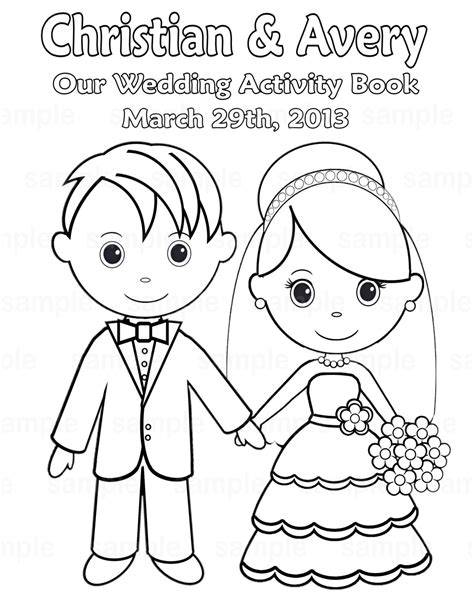 coloring pages for wedding printable personalized wedding coloring activity by