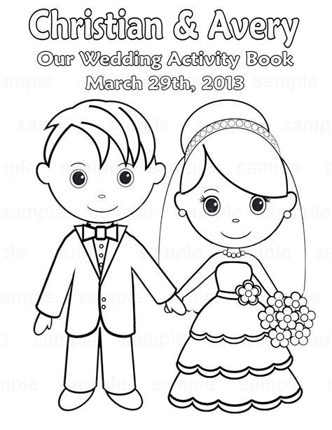 custom coloring books for weddings - Printable Personalized Wedding ...