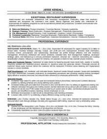 exle restaurant supervisor resume sle
