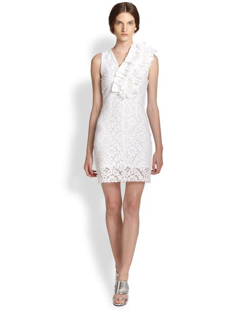 Wst 9529 White Lace Belted Dress 1 lyst msgm ruffle detail lace dress in white