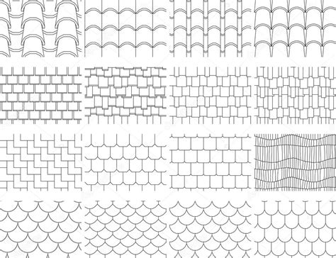 roof pattern drawing collection textures of the roofing cover for drawing in