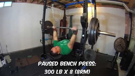 300 bench press paused bench press 300 lb x 8 8rm youtube