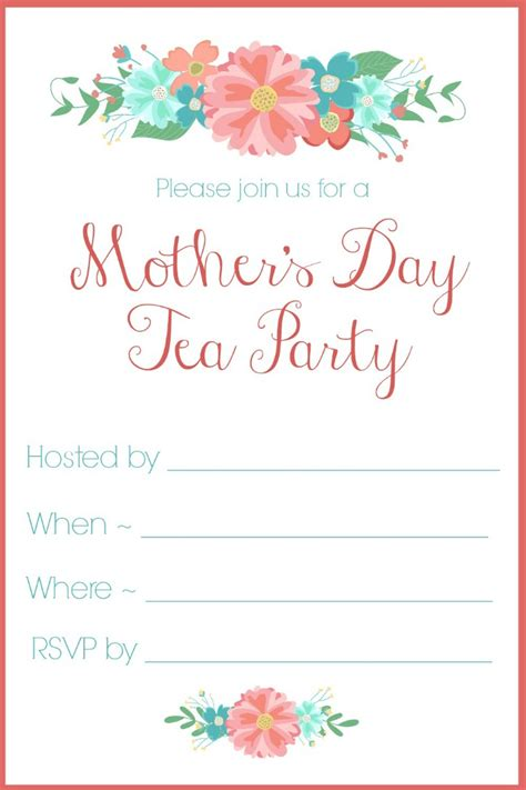 Mother S Day Tea Party Invitation Free Printables S Day Invitation Template