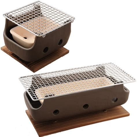 japanese grill on table brown rect charcoal bbq konro