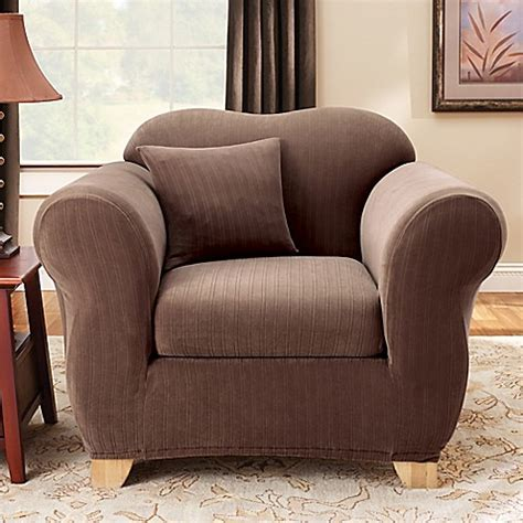 sure fit 2 piece slipcover sure fit 174 stretch pinstripe 2 piece chair slipcover bed