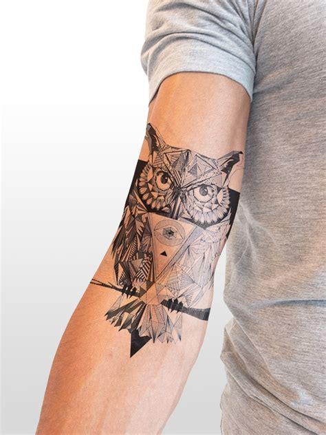tatuaje temporal buho geom 233 trico tiendatatuajes
