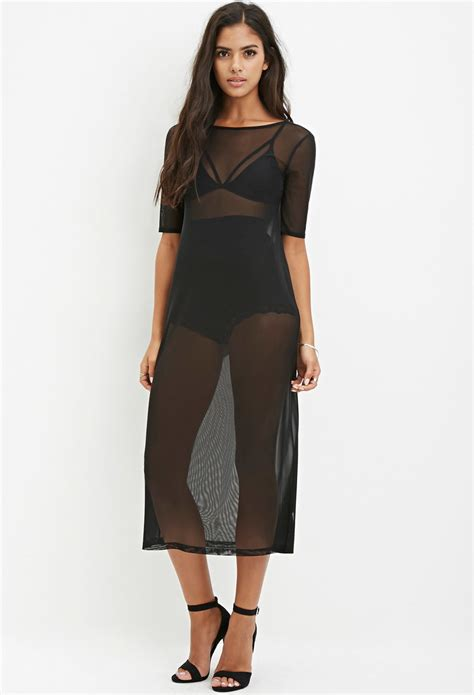 Usa Luvena Fortuna Knitted Hat forever 21 sheer mesh midi dress in black lyst