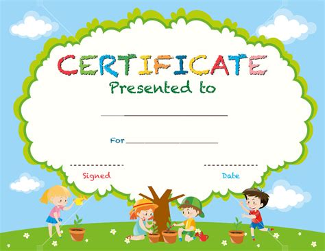 kid certificate templates free printable certificate template with planting trees illustration
