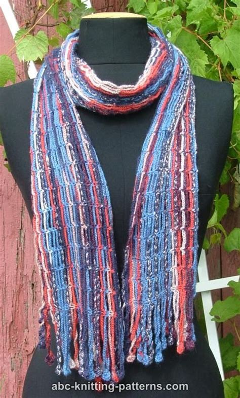 knitting patterns for scarves using sock yarn abc knitting patterns chain scarf with crochet fringe