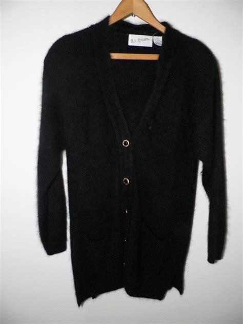 Bj 0729 Black Button Slim Dress s vintage bj kristen black angora button front sweater cardigan sz m ebay