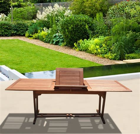 rectangular wood patio table vifah v232 outdoor wood rectangular extension table with