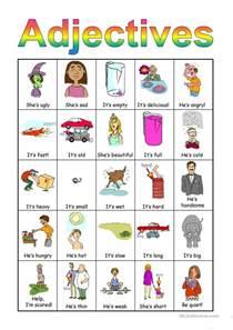 adjectives bingo set worksheet free esl projectable