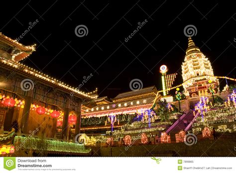 new year temple temple lighted up for new year royalty free stock