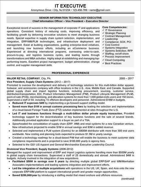 executive resume formats and exles resume sle 1 it executive resume career resumes