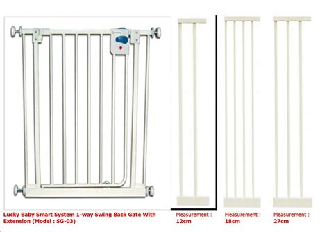 lucky baby smart system 1 way swing back gate with extension model sg 03