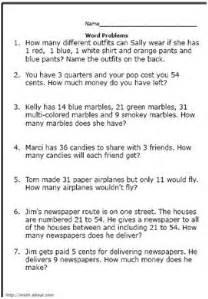 2nd grade math word problems worksheet