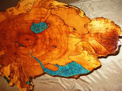 edge spalted maple coffee table  turquoise