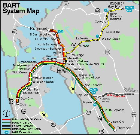 san francisco map with bart bays san francisco bay and san francisco on